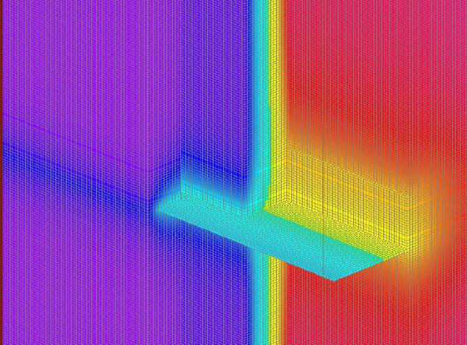 Fig. 1-11 Three-dimensional thermal image of the continuous floor line shelf angle shown in Fig. 1-10.