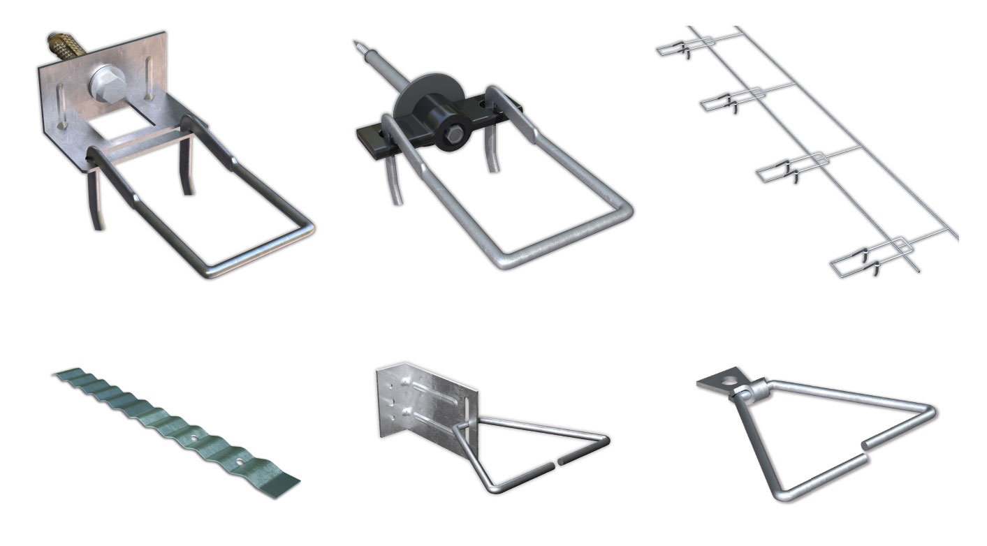 Fig. 1-18 Masonry veneer tie types. Top row, left to right: standard double eye and pintle plate tie, thermally optimized double eye and pintle screw tie, ladder eye-wire tie. Bottom row, left to right: corrugated masonry ties, adjustable L-bracket, non-adjustable surface-mounted tie.