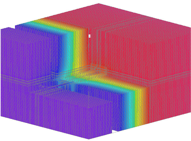 Fig. 1-9 Three-dimensional thermal image of the galvanized steel masonry tie through exterior insulation shown in Fig. 1-8.