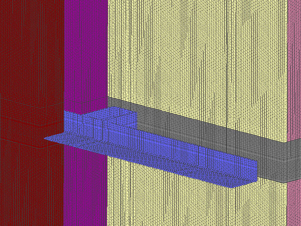 Fig. 2-11 Three-dimensional section of a standoff floorline shelf angle supporting anchored masonry veneer.