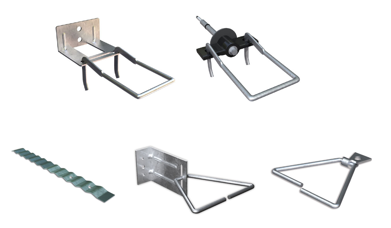 Fig. 2-18 Masonry veneer tie types. Top row, left to right: standard double eye and pintle plate tie and thermally optimized double eye and pintle screw tie. Bottom row, left to right: corrugated masonry ties, adjustable L-bracket, non-adjustable surface-mounted tie.