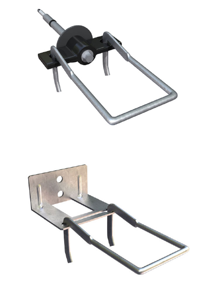 Fig. 2-6 Brick tie types used for modeling—from top to bottom: thermally optimized screw tie and double eye and pintle plate tie.