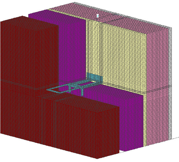 Fig. 2-7 Three-dimensional section of a galvanized steel masonry tie through exterior insulation.