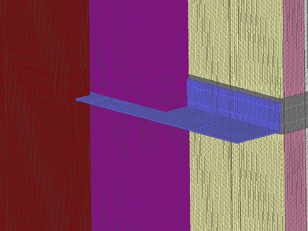 Fig. 2-10 Three-dimensional section of a continuous floorline shelf angle supporting anchored masonry veneer.