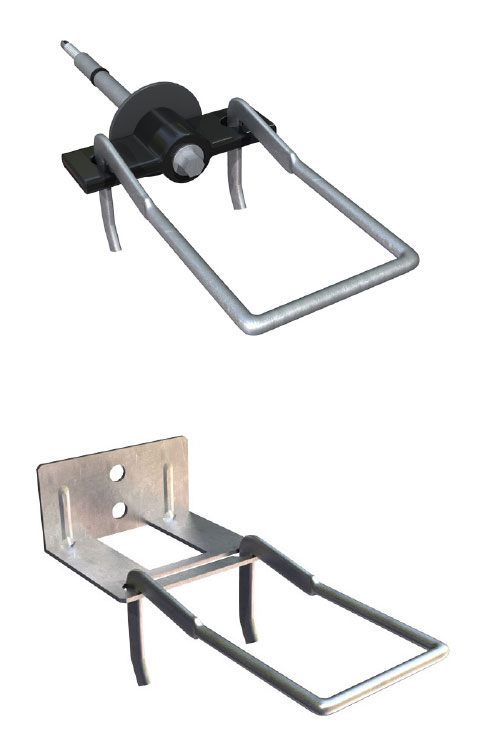 Fig. 3-11 Brick tie types used for modeling. From top to bottom: thermally optimized screw tie and double eye and pintle plate tie.