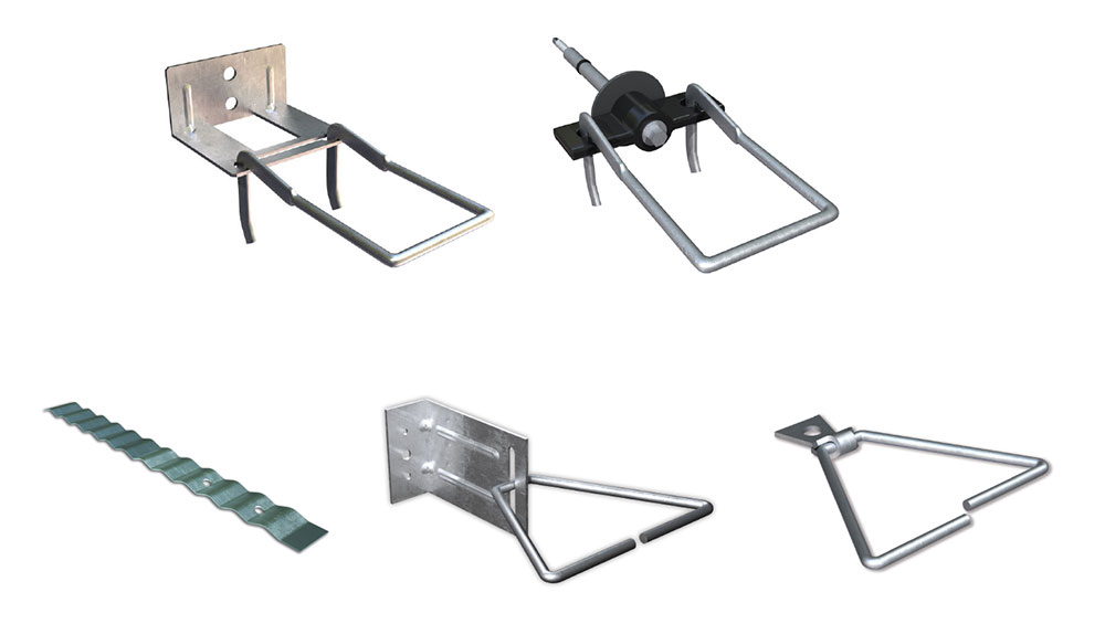 Fig. 3-15 Brick tie types. Top row, left to right: standard double eye and pintle plate tie, thermally optimized double eye and pintle screw tie. Bottom row, left to right: corrugated masonry tie, adjustable L-bracket, non-adjustable surface mounted tie.
