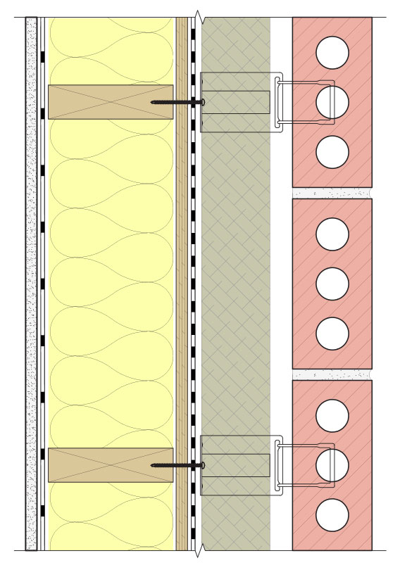 Fig. 3-5 System 3 with exterior semi-rigid mineral fiber insulation.