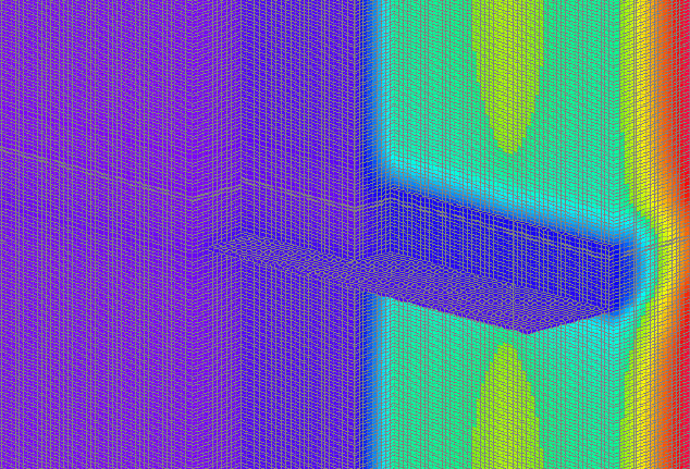 Fig. 3-7 Three-dimensional thermal image of the continuous floor line shelf angle shown in Fig. 3-7.
