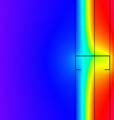 Fig. 5-5 Two-dimensional thermal model image of 2-inches of closed-cell spray foam insulation between studs tight to the CMU wall