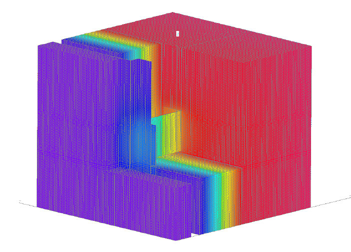 Fig. 6-7 Three-dimensional thermal image of an intermittent Z-girt through exterior insulation.