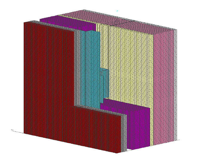 Fig. 7-6 Three-dimensional section of an intermittent galvanized steel Z-girt supported adhered masonry veneer.