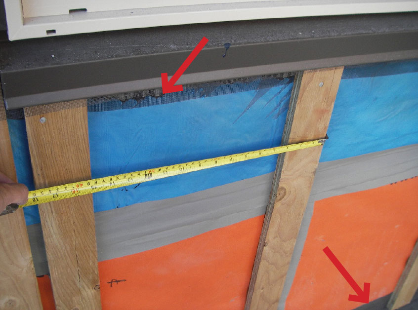 Fig. 8-13 Preservative-treated furring strips over a sheet-applied WRB/AB membrane. Insect screen warps around the top and bottom of the furring strips to close off the rainscreen cavity from insects while still allowing for drainage and ventilation.