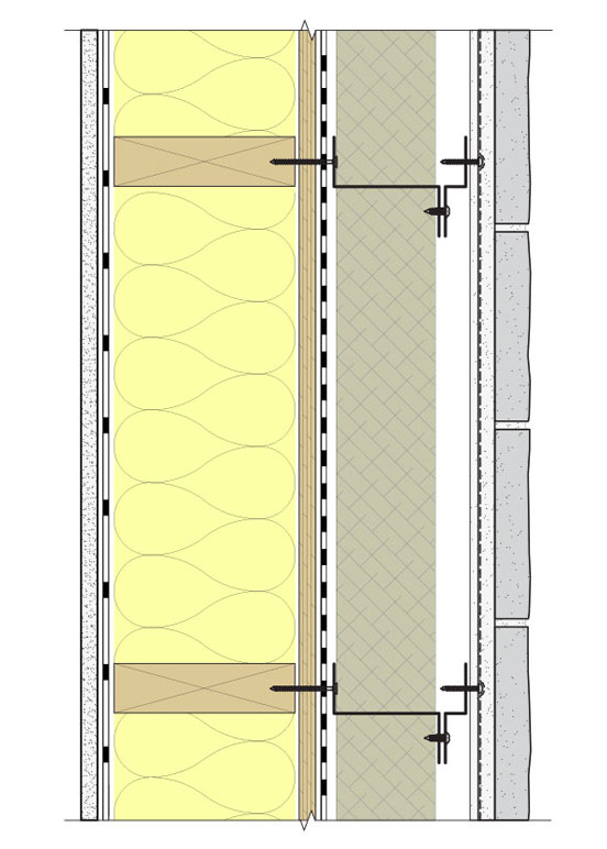Fig. 8-5 System 8 Option B with exterior semi-rigid mineral fiber board insulation and intermittent cladding support clips