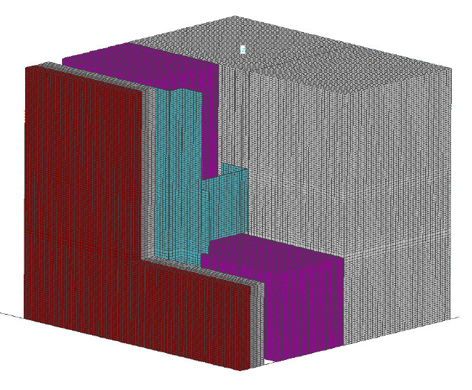 Fig. 8-7 Three-dimensional section of an intermittent galvanized steel Z-girt through exterior insulation.