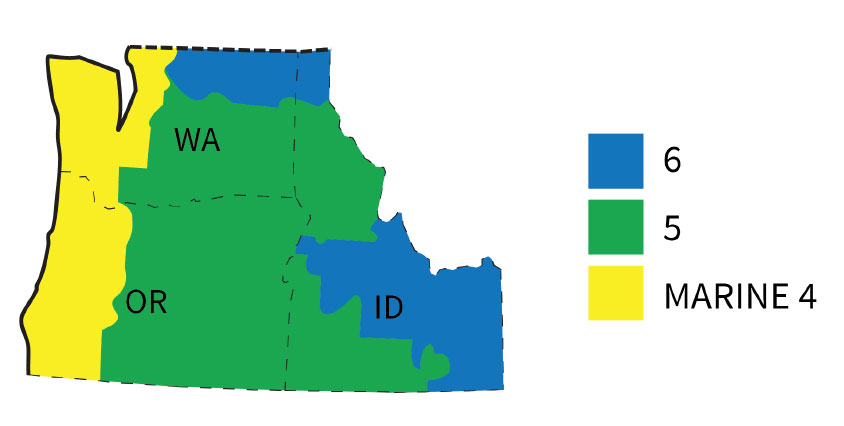 Fig. i-16 Northwest region (Washington, Oregon, and Idaho Climate zones including Zone Marine 4, Zone 5, and Zone 6.