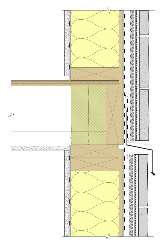 Fig. i-26 Assembly 8, Detail 8b-D. Typical floor line cross-cavity sheet-metal flashing. The flashing helps drain the rainscreen cavity above and deflects water away from the top of the cavity below while still allowing for drainage and ventilation in each cavity. Space above and below the sheet metal flashing also allows for movement within the veneer as well as differential movement between the veneer and wall structure.