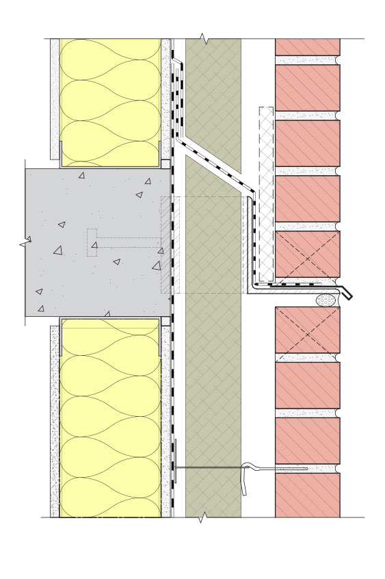 Fig. i-27 Assembly 2, Detail 2-D. Typical floor line condition at standoff shelf-angle. This alternate detail approach includes a flexible self-adhered membrane in lieu of sheet metal to divert drainage at the rainscreen cavity.