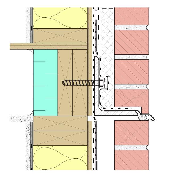 Fig. i-35 Anchored masonry veneer horizontal floor-line movement joint example with lip brick.