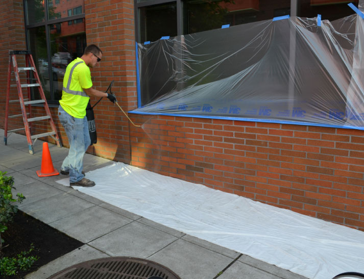 Fig. i-37 Clear water repellent application at an anchored masonry veneer.