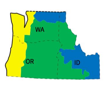 Fig. i-7 Northwest region (Washington, Oregon, and Idaho) Climate zones including Zone Marine 4, Zone 5, and Zone 6 as references from Figure C301.1 of the 2015 International Energy Conservation Code3 (see Fig. i-6).
