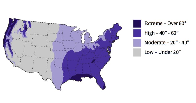 Fig. i-8 United States Total Annual Rainfall Levels. Map by RDH Building Science Inc. Data courtesy of National Oceanic and Atmospheric Administration.4