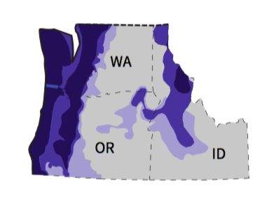 Fig. i-9 Annual rainfall levels of the Northwest region. Figure excerpted from Fig. i-8.