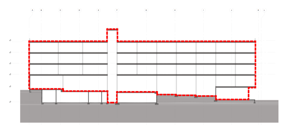 Fig. i-28 Whole-building section with the continuous air barrier system pressure boundary denoted in red